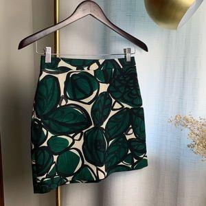 Zara Basic Leaf Printed Mini Skirt